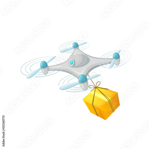 Drone delivery concept design  Modern cartoon vector