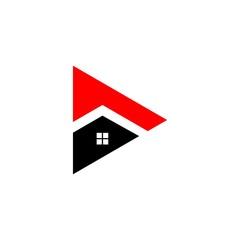 House Roof on Triangle Shape Logo Vector