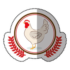 middle shadow sticker colorful with olive crown with chicken in circle vector illustration