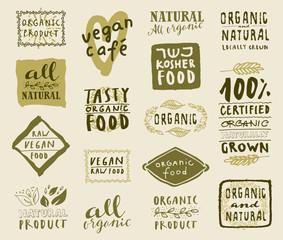 Set of organic food labels for vegetarian and kosher restaurants