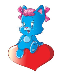 Cute little kitty with pink bows sittting on a heart. Isolated. Cartoon vector illustration for greeting and wedding cards and Valentine's Day