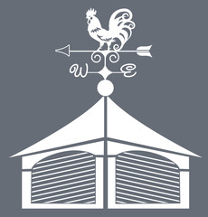 Weather vane rooster black and white