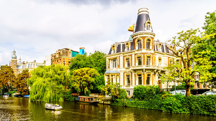 Typical Canal Scene with Historic Aristocratic Houses in Amsterdam
