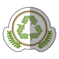 middle shadow sticker colorful with olive crown with ornament leaves recycling symbol in circle vector illustration