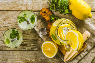 Classic lemonade in glass jars