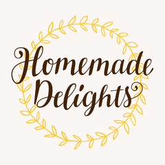 Homemade Delights lettering in retro style. Modern calligraphy.