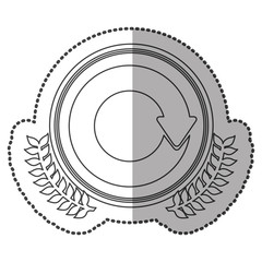 middle shadow sticker monochrome with olive crown with reloaded symbol in circle vector illustration