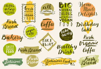 Bio organic labels set. Fresh Bread Bakery. Farmers' Market. Food and drinks for healthy life. Fresh organic food and coffee labels collection. Logo templates. Beautiful calligraphic badges