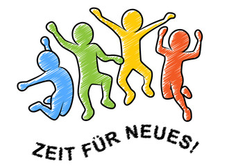 Farbige Strichmännchen beim Luftsprung / ZEIT FÜR NEUES!