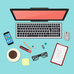 Realistic technology workplace organization. Top view of color work desk with laptop, smartphone, tablet pc, diary, glasses, and coffee mug.