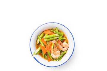 Stir fried asparagus carrot with shrimp