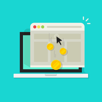 Pay per click vector illustration or cost per click, internet advertising concept, marketing symbol, web browser window on laptop computer with mouse cursor and golden coins earned