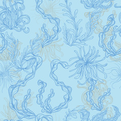 Collection of marine plants, leaves and seaweed. Vintage seamless pattern with hand drawn marine flora. Vector illustration in line art style.