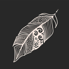 Ethnic feathers. Tribal Feathers Vintage Pattern. Hand Drawn Doodle and zentangle illustration. stylized linear style beige on blackboard