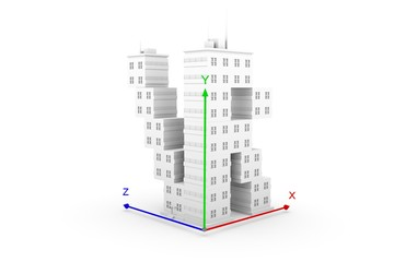 VR axis building white background 3d illustration