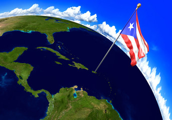 Puerto Rico national flag marking the country location on world map. 3D rendering, parts of this image furnished by NASA