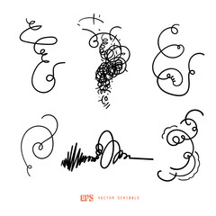 Scribble line design art elements. May use as brush