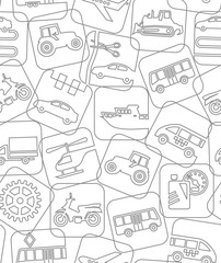 Transport and construction machinery, white background, seamless, contour drawing. Vector background. Different types of transport and construction machines. Air, land and water transport.