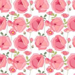 Seamless spring pattern with stylized cute pink roses.  Endless texture for your design, greeting cards, announcements, posters.