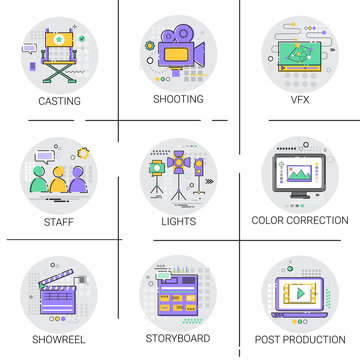 Shooting Camera Film Production Industry Icon Set Vector Illustration