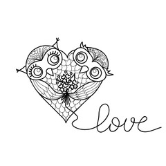 Two cute owls in the shape of a heart. Hand-drawn owl in doodle art style.Template for coloring books. Card for Valentine's Day.