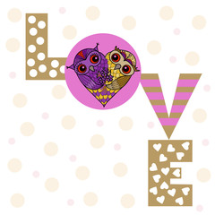 Valentine's Day greeting card. Two cute owls in the shape of a heart and an inscription, love.