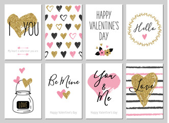 Valentine's day greeting card set with hearts. Gold, black, pink, white colors. Gift tags with gold glitter texture. Hand drawn hearts. Design for valentine and wedding. Hello. Be mine. You and me.