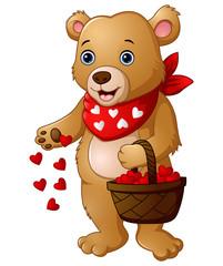 Keuken foto achterwand Beren Cartoon bear with a basket of red heart