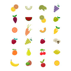 Set of fruits and vegetables. Vector illustration, isolated on white.
