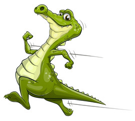 Illustration of a happy cartoon alligator running fast
