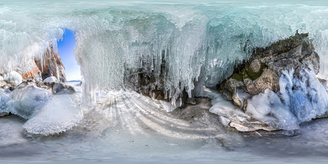 360 180 panorama dawn in an ice cave with icicles on Baikal, Olk
