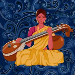 Artist playing Sitar folk music of India