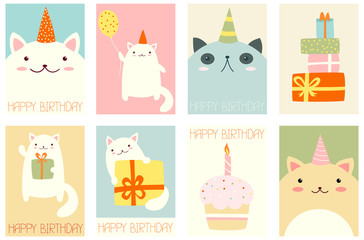Set of birthday banners with cute cats