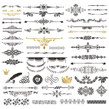 Vector set of calligraphic design elements and page decor.