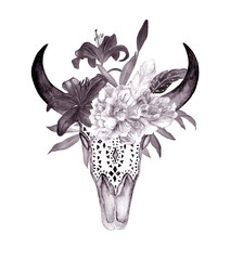 Watercolor bull's head with flowers and feathers. Boho style. Print for tattoo, wallpaper, t-shirts
