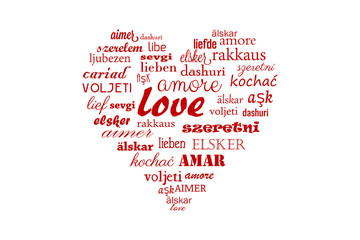 Love heart vector with calligraphic words in all languages for Happy Valentine in all the world