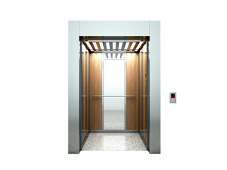 Realistic blank open elevator hall interior with waiting lift 3d