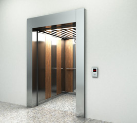 Realistic empty elevator hall interior with waiting lift marble
