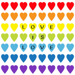Love is love black text. Rainbow heart set. Seamless Pattern. Wrapping paper, textile template. Lgbt sign symbol. Gay flag color. White background. Isolated. Flat design.