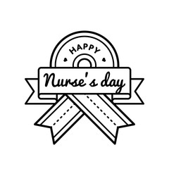 Happy Nurses day emblem isolated vector illustration on white background. 12 may world healthcare holiday event label, greeting card decoration graphic element