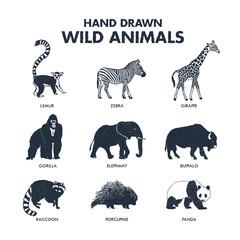 Hand drawn textured wild animals icons set with lemur, zebra, giraffe, gorilla, elephant, buffalo, raccoon, porcupine, and panda vector illustrations.