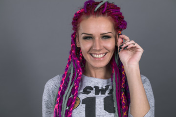 Sexual girl with fascinating dreadlocks