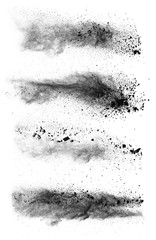 Freeze motion of black dust explosions on white background
