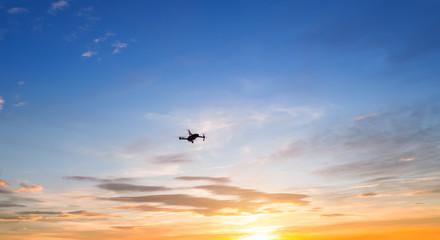 Silhouette of drone quadrocopter