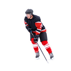 Young Ice hockey player with hockey stick isolated on white background