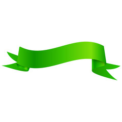 Realistic shiny green ribbon isolated on white background. With space for text. Vector illustration