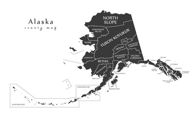 Modern Map - Alaska county map with labels USA illustration Wall mural