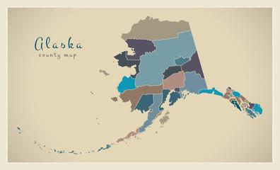 Modern Map - Alaska county map coloured states USA illustration