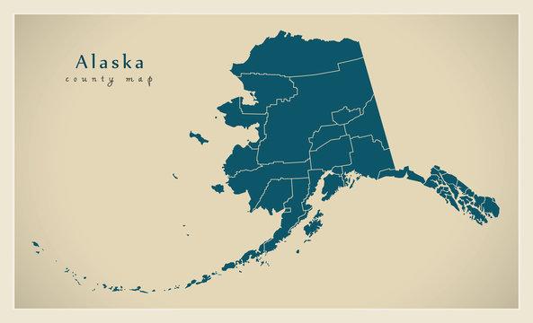 Modern Map - Alaska county map USA illustration