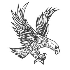 Illustration of flying eagle
